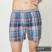 【JEEP】五片式剪裁 純棉平口褲 (藍色大格紋)