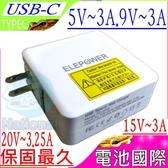 TYPE-C 充電器-5V,9V,15V,20V,3A,3.25A,65W,HP ELITE X2 1012 G1,Lenovo X1C-5,T470 TP13-2,USB-C接口