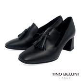 Tino Bellini義大利進口牛皮流蘇樂福中跟鞋_黑 VI8504 歐洲進口款