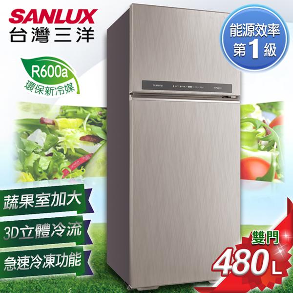 雙11加碼贈真空保鮮組【SANLUX 台灣三洋】 480L 1級能效變頻雙門冰箱 SR-C480BV1B 含原廠基本安裝