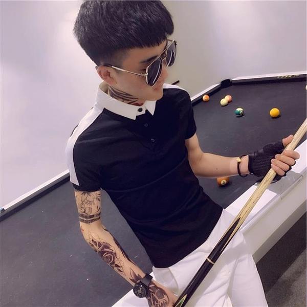社會小伙夏季t恤短袖Polo衫男精神網紅潮流修身快手同款半袖 印象家品