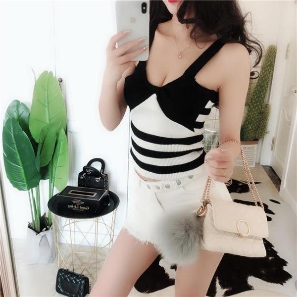 新款低胸顯瘦無袖小吊帶性感修身露背短款上衣女