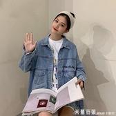 網紅上衣秋季2021新款韓版學生bf風寬鬆刺繡初秋牛仔外套女潮
