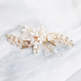 水鑽髮夾-珍珠花朵水晶花葉頭飾73xr10【時尚巴黎】