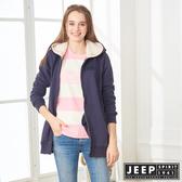 【JEEP】女裝 狐狸刺繡長版連帽刷毛外套 (深藍)