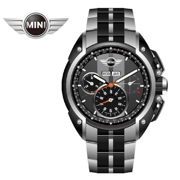 【萬年鐘錶】MINI Swiss Watches英國風格 雙灰錶面三眼外圈數字日期 銀黑雙色鋼鍊帶錶 45mm MINI-05S