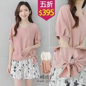 【五折價$395】糖罐子壓摺袖側綁帶純色雪紡衫→預購【E49607】