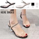 [Here Shoes]跟高6.5cm 皮革PU+絨面水鑽一字帶 圓頭粗跟瑪麗珍涼拖鞋 透膚水晶高跟鞋-KW888-1