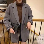 韓版chic復古中長款休閒小西裝寬松正裝西服外套【時尚大衣櫥】