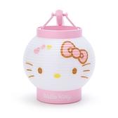 小禮堂 Hello Kitty LED塑膠圓燈籠 提燈 圓形燈籠 仿紙造型燈籠 (粉白 夏日祭典) 4550337-50959