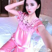 睡衣女睡衣可愛女士夏季短袖套裝薄款性感兩件套冰絲絲綢家居服 伊蒂斯女裝