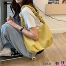 熱賣側背包 包包女2021夏季新款褶皺側背包云朵包托特包百搭軟皮純色大容量包 coco