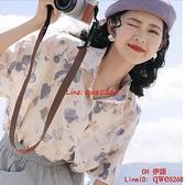 雪紡短袖花襯衫薄款女2021夏新款設計感小眾寬松別致上衣【CH伊諾】