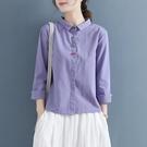 春季盤扣復古中國風翻領純色棉麻長袖襯衫女文藝襯衣打底內搭上衣 設計師