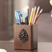 筆筒  創意時尚可愛筆筒實木美式復古木質歐式化妝刷桌面收納盒  蒂小屋服飾