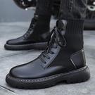 黑色馬丁靴男英倫風韓版潮流百搭高筒工裝靴秋冬中筒靴子男潮快速出貨