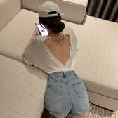 露背上衣 夏季小心機性感露背鏤空錬條中長款寬鬆短袖T恤上衣女裝-Ballet朵朵
