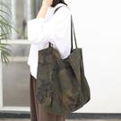 帆布單肩包-迷彩印花大容量購物袋女手提包...