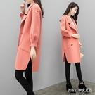 秋冬新款加厚流行呢子大衣女中長款寬鬆小個子毛呢外套 JY17619【Pink中大尺碼】