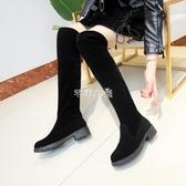 中跟長靴女過膝2019秋冬新款長筒靴粗跟顯瘦系帶高筒網紅瘦瘦靴子 交換禮物