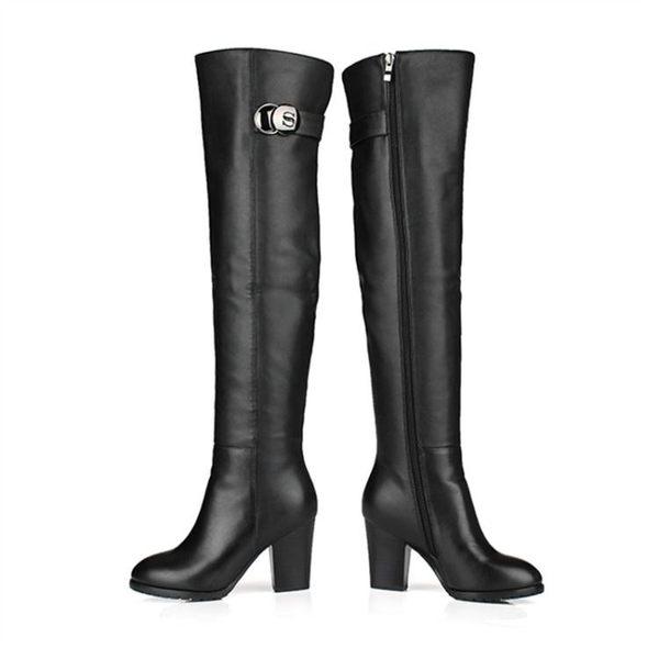 冬季雪地意長靴女膝上靴高跟粗跟韓版中跟圓頭長筒靴皮靴子