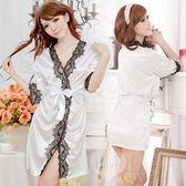 情趣睡衣 愛在今宵!長袖透明蕾絲和服式睡衣﹝白﹞ 情趣用品【530712】