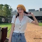 夏季V領鏤空針織衫女短袖薄款打底開衫上衣【時尚大衣櫥】