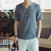 夏季亞麻短袖t恤男大碼寬鬆韓版潮男裝棉麻中袖V領上衣服       伊芙莎