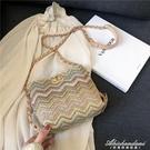 草編小包包女新款ins編織錬條水桶包質感百搭側背斜背包 黛尼時尚精品