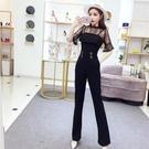 套裝洋裝 夏季女裝洋氣韓版蕾絲上衣 顯瘦吊帶連體褲兩件套 快速出貨