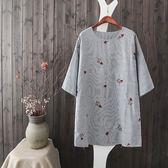 棉麻 日系直條紋刺繡長版上衣-中大尺碼 獨具衣格