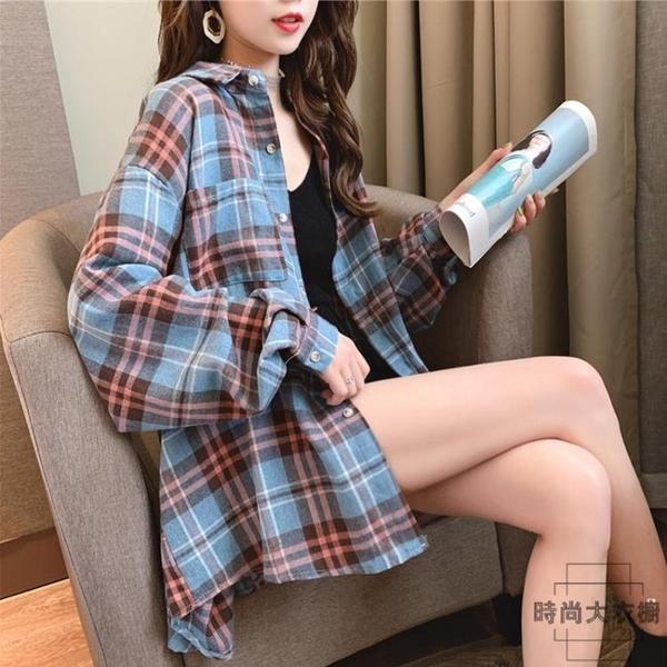 格子襯衫女韓版寬鬆大碼長袖襯衣薄外套上衣【時尚大衣櫥】