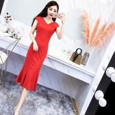 夏季新款韓版女裝V領修身顯瘦中長款禮服裙包臀魚尾洋裝女