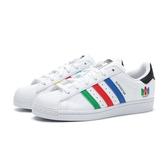 ADIDAS 休閒鞋 ORIGINALS SUPERSTAR 白 藍綠紅 皮革 男段女尺寸 (布魯克林) FU9521