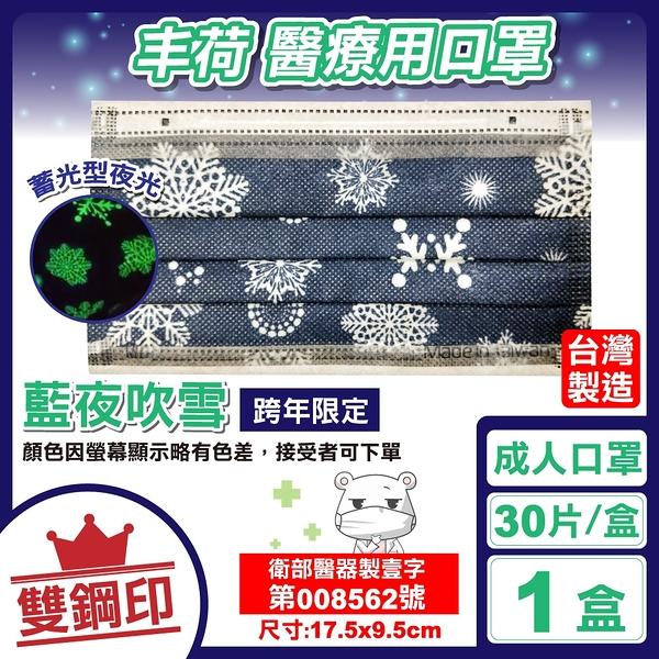 丰荷 雙鋼印 成人醫療口罩 醫用口罩 (藍夜吹雪) 30入/盒 (台灣製造 蓄光型夜光口罩) 專品藥局