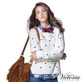 Victoria 愛心刺繡拉克蘭長袖線衫-女-白色