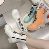 短靴 春秋季新款圓頭透明底時尚百搭粗跟高跟時裝靴ins潮 降價兩天