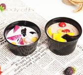 一次性甜品盒帶蓋塑料打包碗黑色