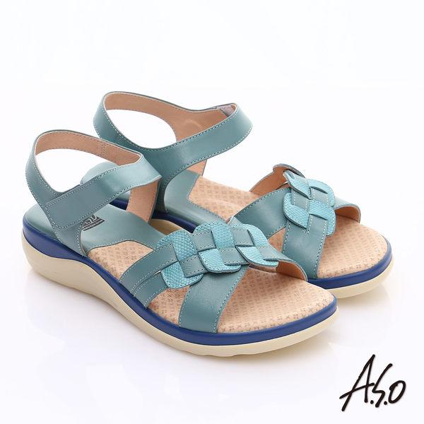A.S.O 挺麗氣墊 真皮編織奈米魔鬼氈涼鞋 淺藍