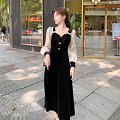 洋装 宮廷風絲絨連身裙赫本風法式小v領波點輕奢設計感裙H325 韓依紡