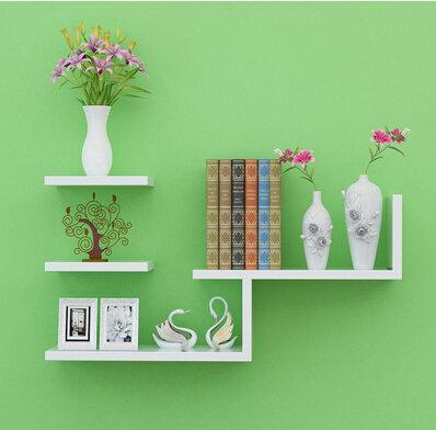 隔板L型置物書架超市貨架電視櫃背景牆支架支撐組合擱板壁掛托架【主圖款白色】