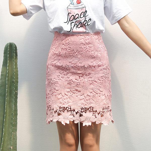 實拍夏季新款蕾絲鉤花鏤空刺繡下身短裙子一步裙半身裙A字包臀裙 麻洋
