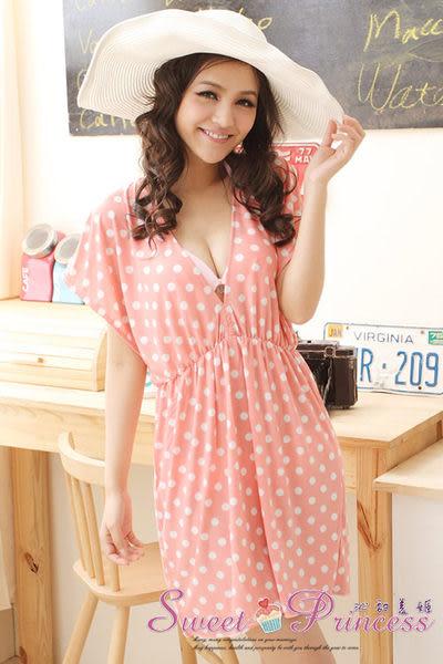 泳衣配件  深V款比基尼外搭罩衫 - 戀上海邊(粉圓點) -沁甜美姬