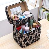 化妝包雙層大容量多層韓國手提可愛小號便攜簡約少女心收納箱盒   草莓妞妞