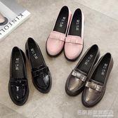 小皮鞋 英倫淺口粗跟學院風復古平底單鞋小漆皮鞋女圓頭蝴蝶結黑色工作鞋  名購居家