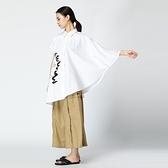 襯衫-短袖斗篷抽象印花不對稱衣袖女上衣2色73th22[時尚巴黎]