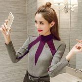 秋冬季女裝新款正韓時尚套頭拼色長袖針織打底修身顯瘦毛衣女