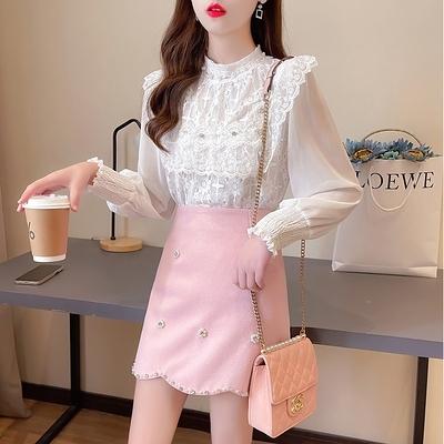 短袖套裝~7180#2021春新款名媛小香風氣質蕾絲衫釘鉆不規則半身裙套裝H311-E胖妞衣櫥