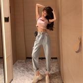 新品特價 夏裝新款韓版chic時尚破洞高腰牛仔褲寬松百搭顯瘦哈倫褲女裝