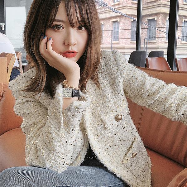 名媛小香風外套 短款女士白色氣質粗花呢羊毛寬鬆外套